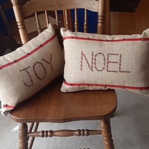 Pair of Christmas pillows, burlap with embroidery